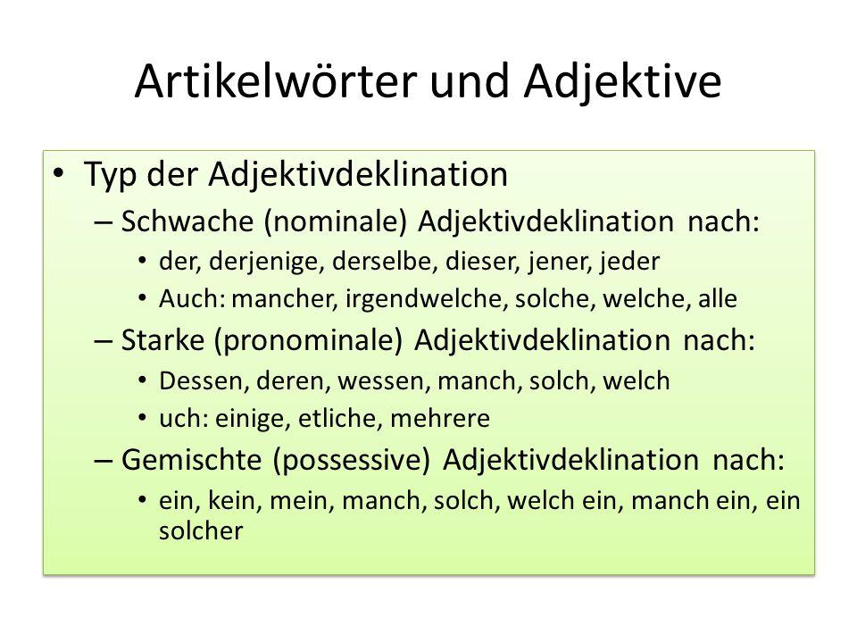 Artikelwörter und Adjektive