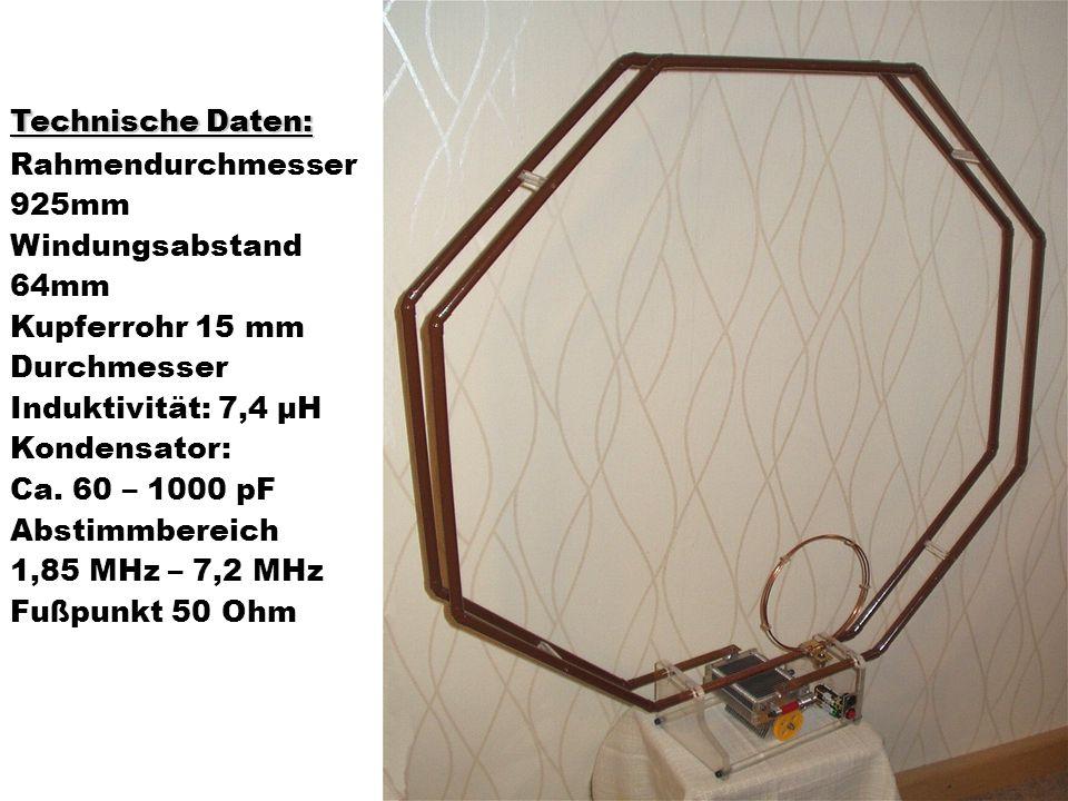 Technische Daten: Rahmendurchmesser. 925mm. Windungsabstand. 64mm. Kupferrohr 15 mm. Durchmesser.