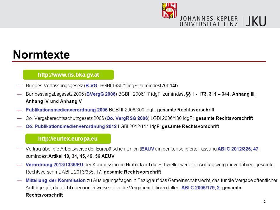 Normtexte http://www.ris.bka.gv.at http://eurlex.europa.eu