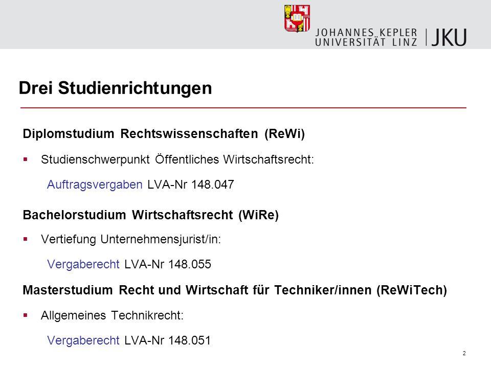 Drei Studienrichtungen