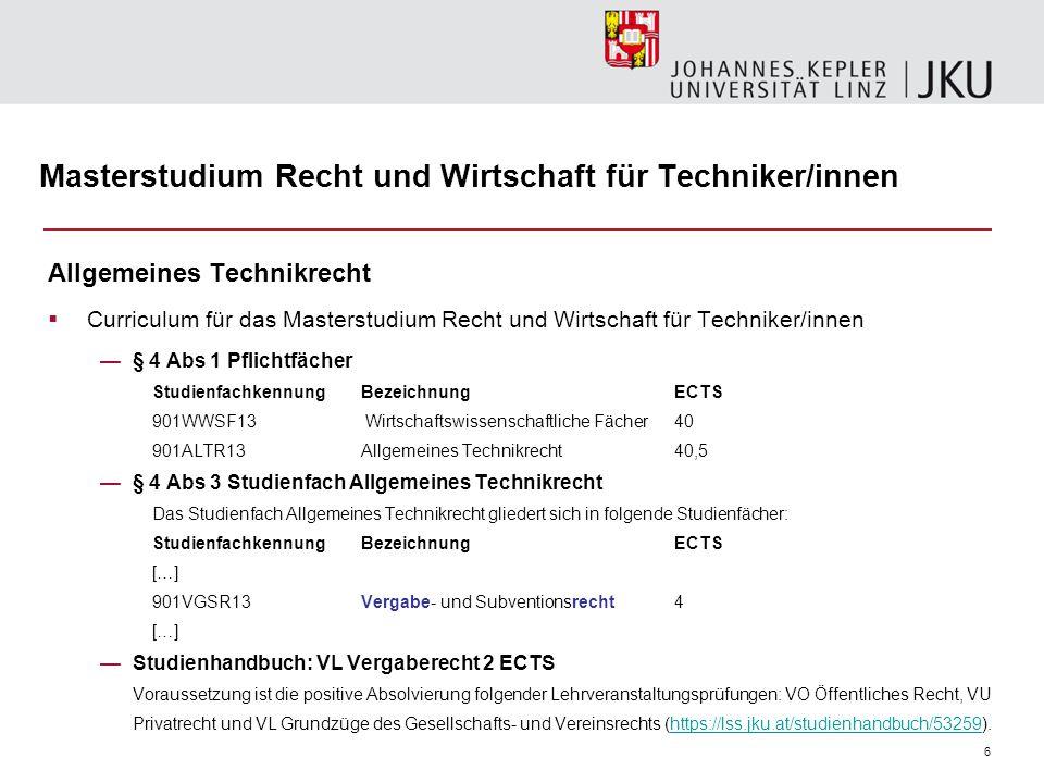 Masterstudium Recht und Wirtschaft für Techniker/innen