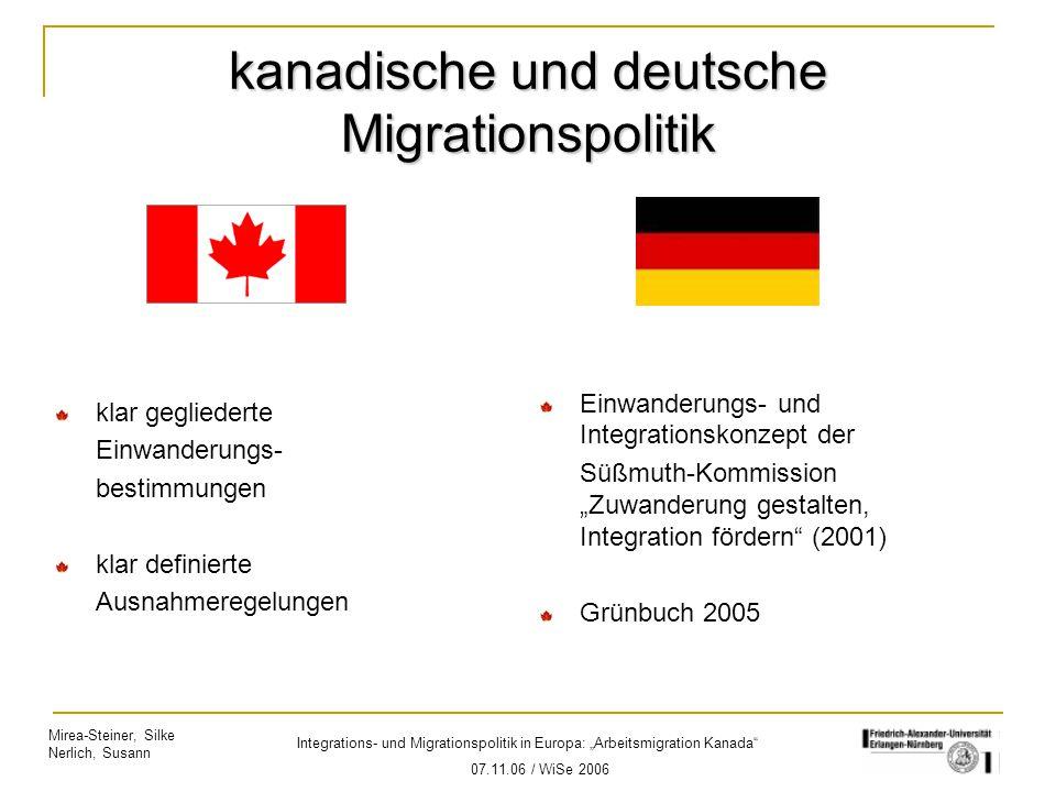 kanadische und deutsche Migrationspolitik