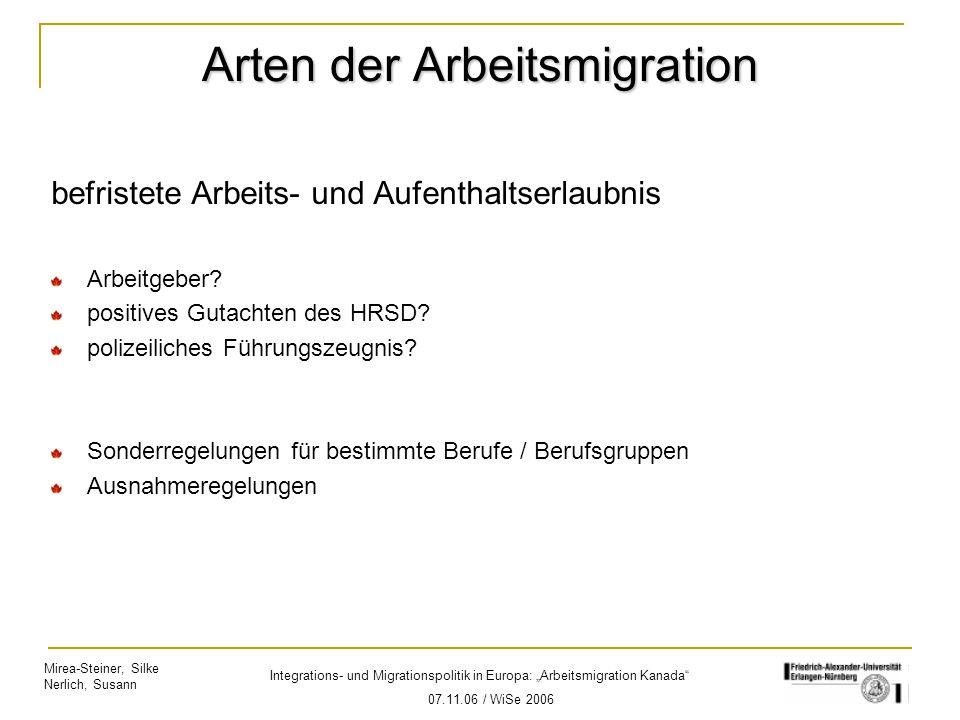 Arten der Arbeitsmigration