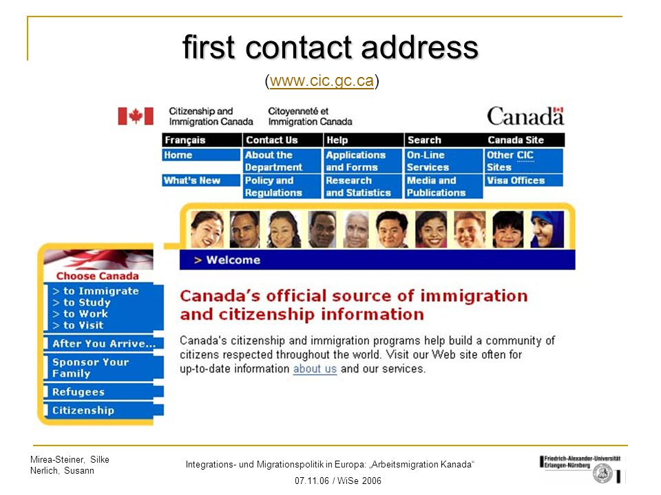 first contact address (www.cic.gc.ca)