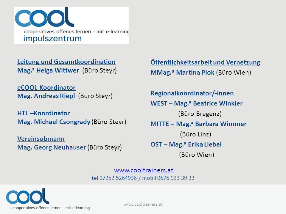 Öffentlichkeitsarbeit und Vernetzung MMag.a Martina Piok (Büro Wien)