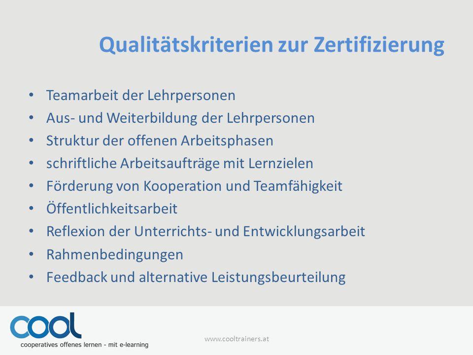 Qualitätskriterien zur Zertifizierung
