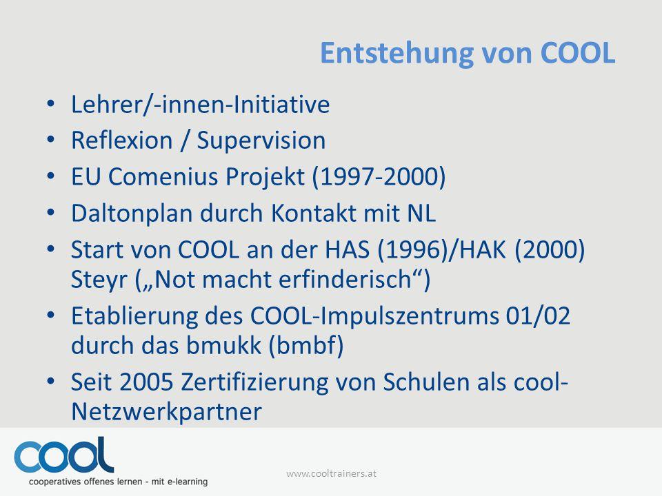 Entstehung von COOL Lehrer/-innen-Initiative Reflexion / Supervision
