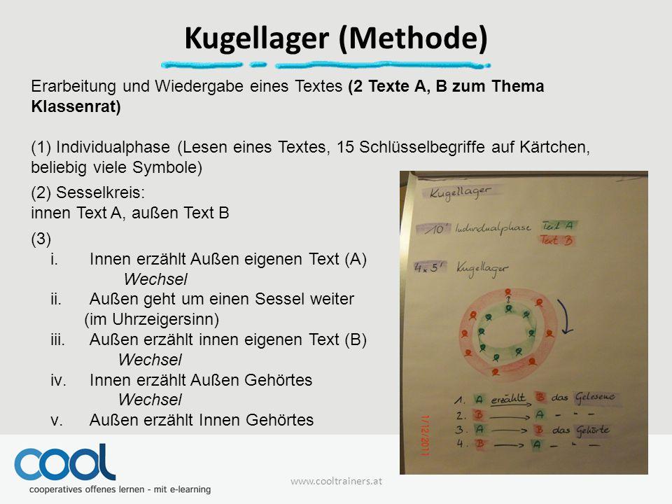 Kugellager (Methode) Erarbeitung und Wiedergabe eines Textes (2 Texte A, B zum Thema Klassenrat)