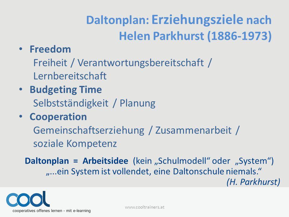 Daltonplan: Erziehungsziele nach Helen Parkhurst (1886-1973)