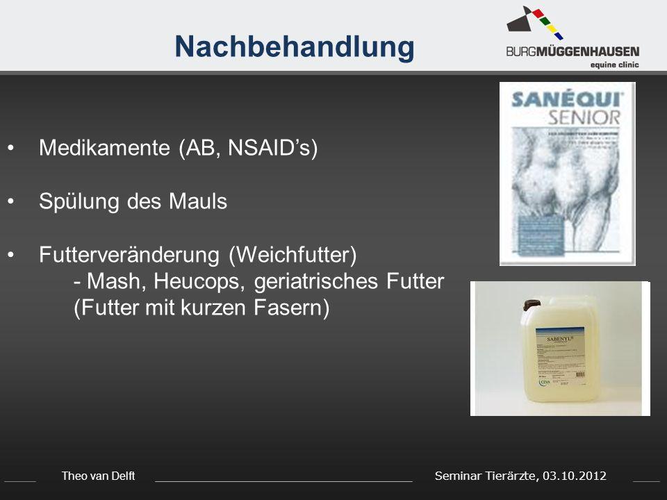 Nachbehandlung Medikamente (AB, NSAID's) Spülung des Mauls