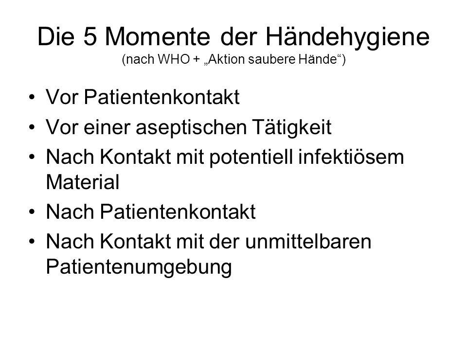 """Die 5 Momente der Händehygiene (nach WHO + """"Aktion saubere Hände )"""