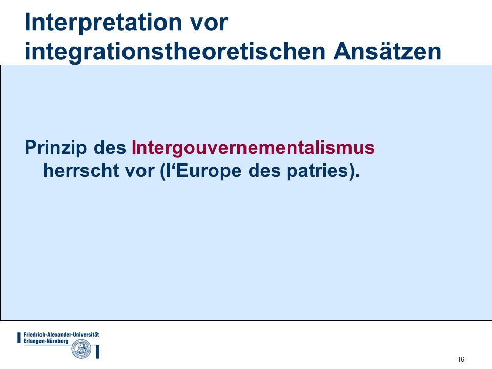 Interpretation vor integrationstheoretischen Ansätzen