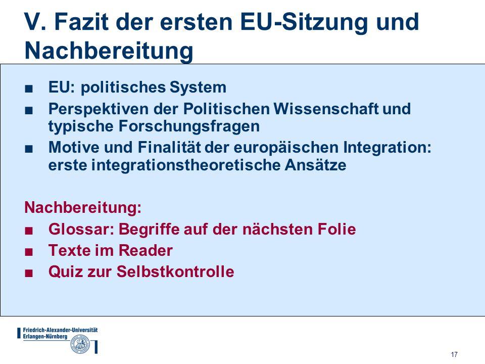 V. Fazit der ersten EU-Sitzung und Nachbereitung