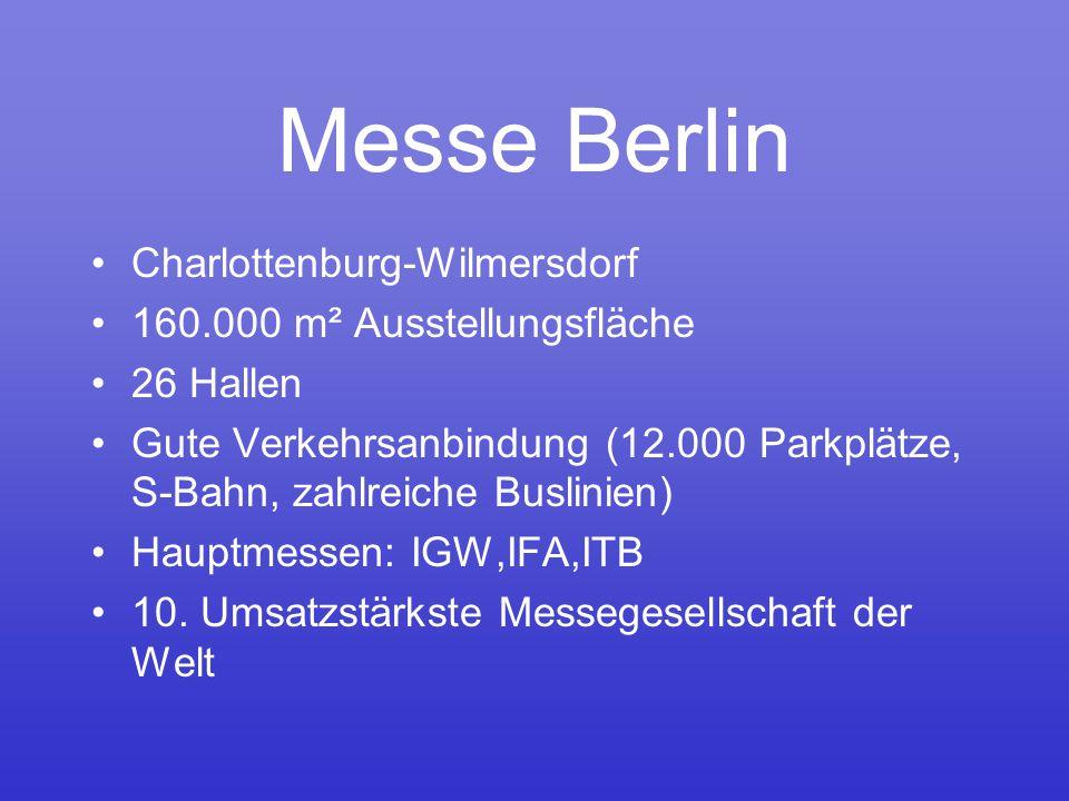 Messe Berlin Charlottenburg-Wilmersdorf 160.000 m² Ausstellungsfläche