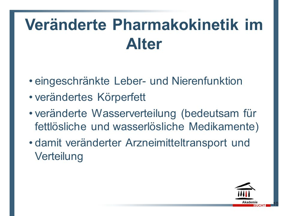 Veränderte Pharmakokinetik im Alter