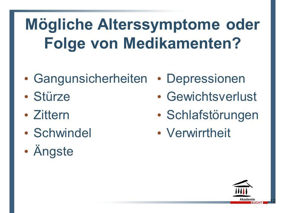 Mögliche Alterssymptome oder Folge von Medikamenten