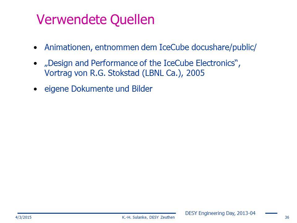 K.-H. Sulanke, DESY Zeuthen