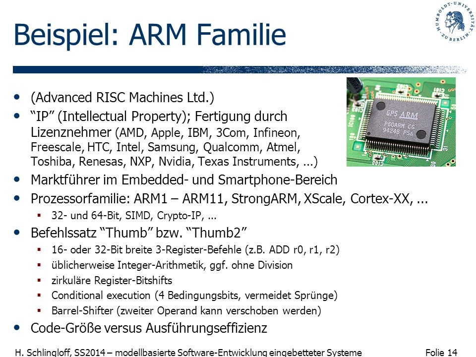 Beispiel: ARM Familie (Advanced RISC Machines Ltd.)