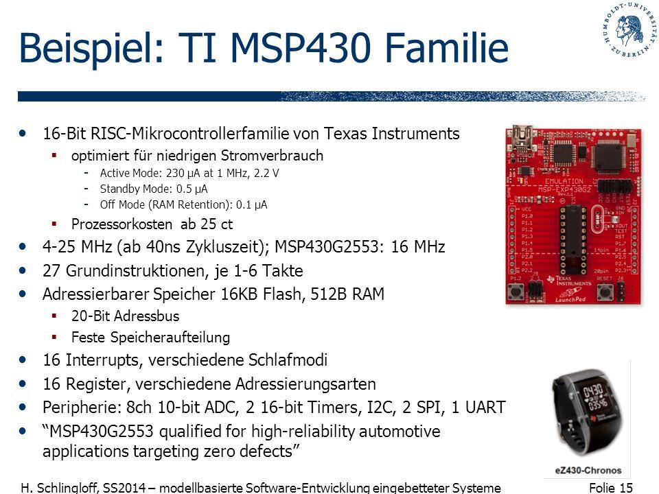 Beispiel: TI MSP430 Familie