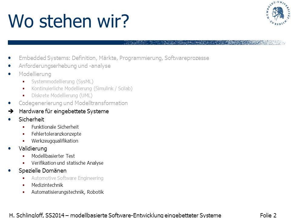 Wo stehen wir Embedded Systems: Definition, Märkte, Programmierung, Softwareprozesse. Anforderungserhebung und -analyse.