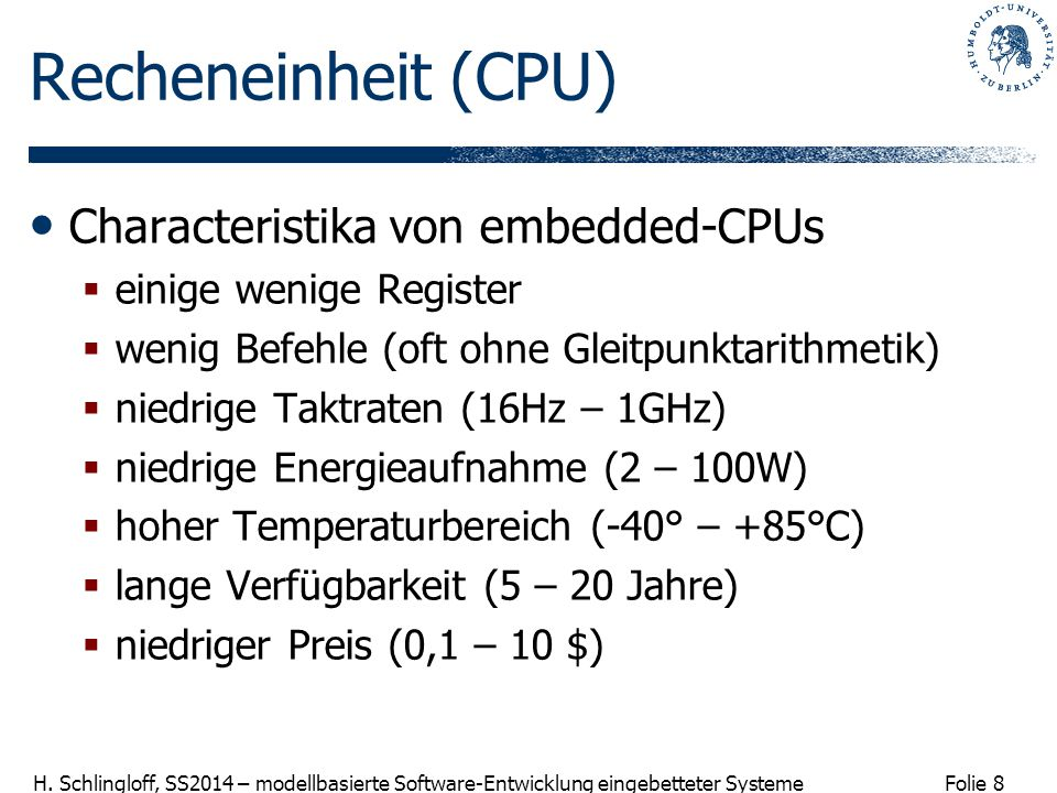 Recheneinheit (CPU) Characteristika von embedded-CPUs