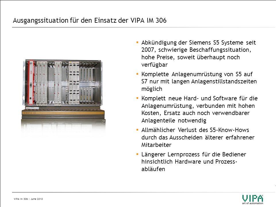Ausgangssituation für den Einsatz der VIPA IM 306