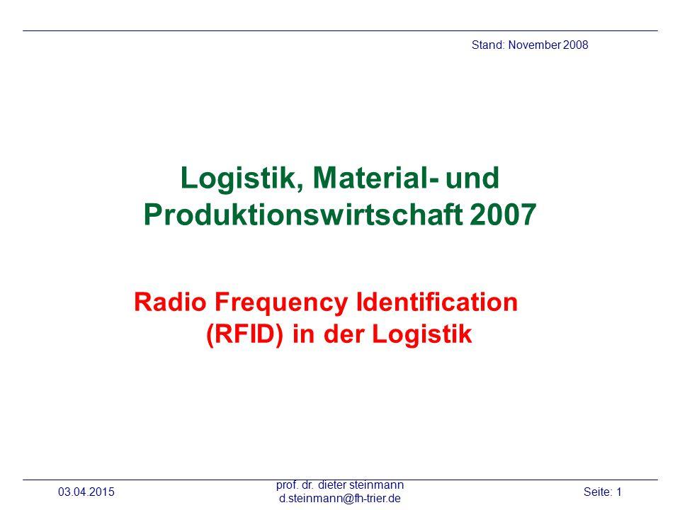 Logistik, Material- und Produktionswirtschaft 2007