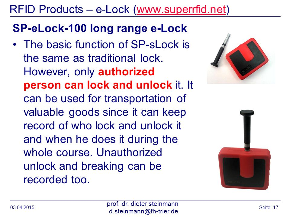 RFID Products – e-Lock (