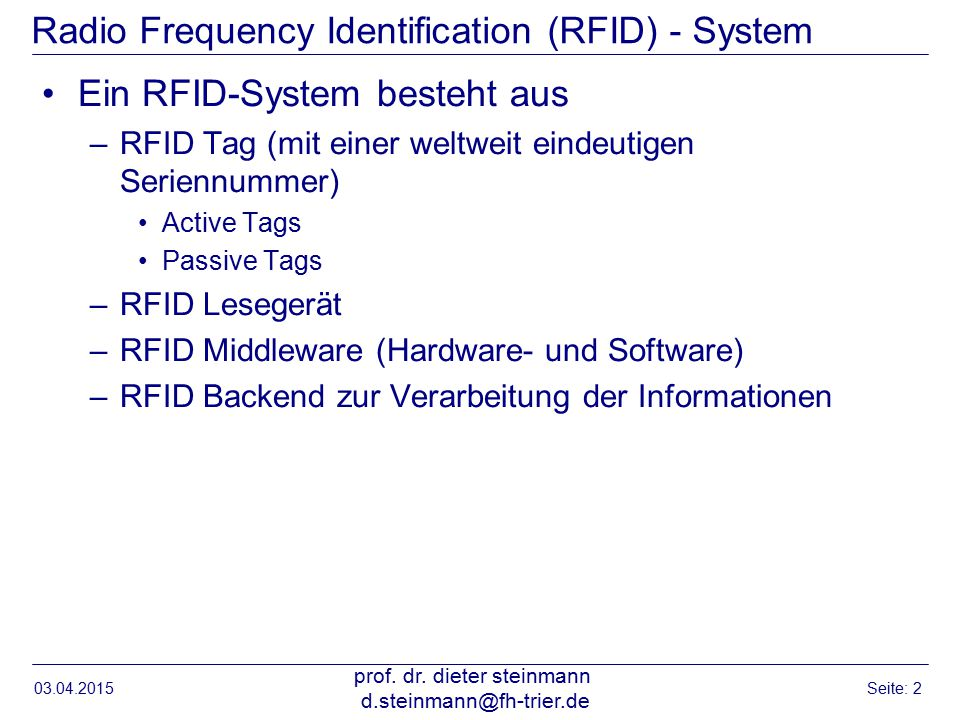 Radio Frequency Identification (RFID) - System