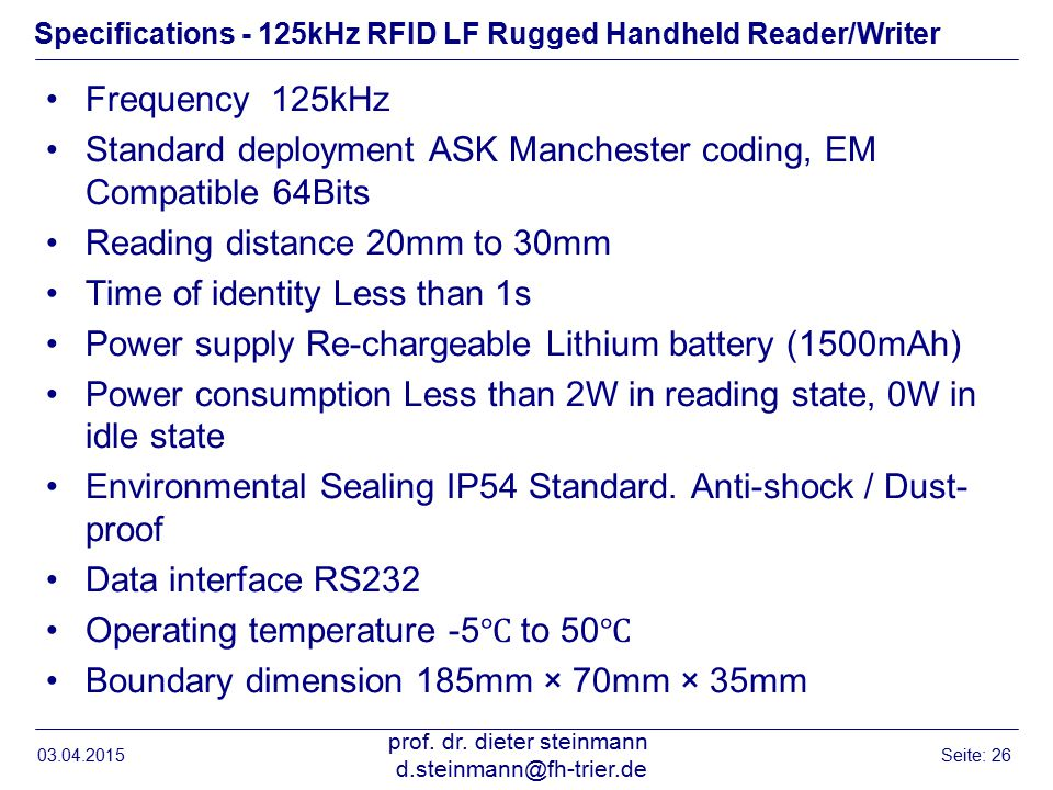 Specifications - 125kHz RFID LF Rugged Handheld Reader/Writer