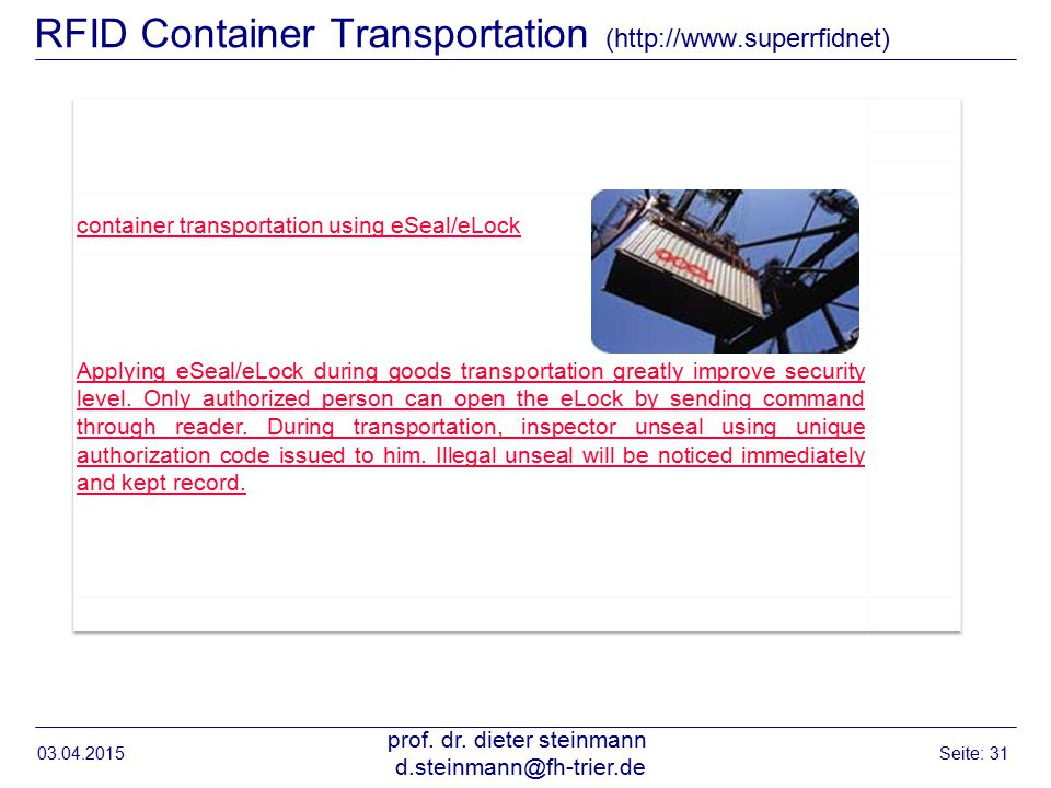 RFID Container Transportation (http://www.superrfidnet)