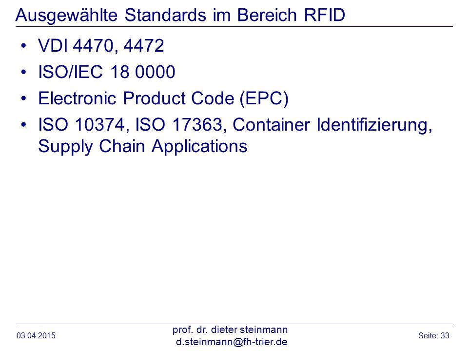 Ausgewählte Standards im Bereich RFID