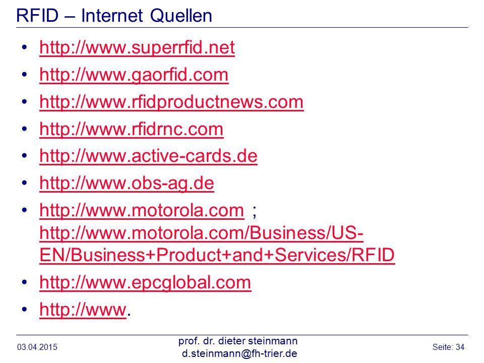 RFID – Internet Quellen