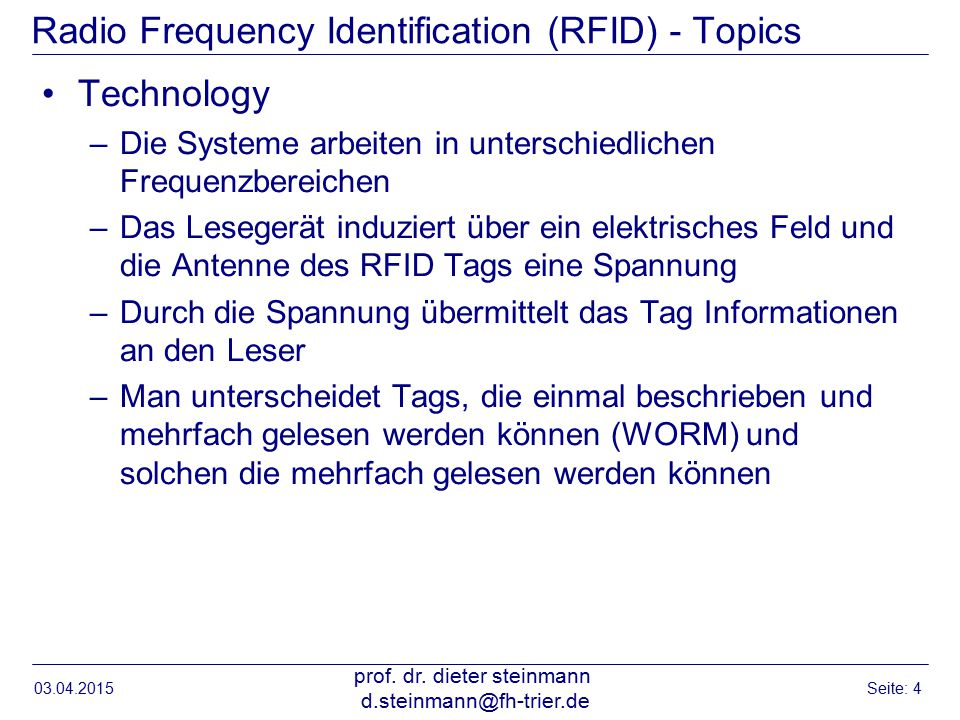 Radio Frequency Identification (RFID) - Topics