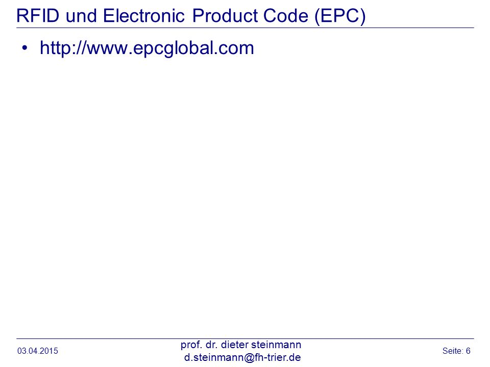 RFID und Electronic Product Code (EPC)