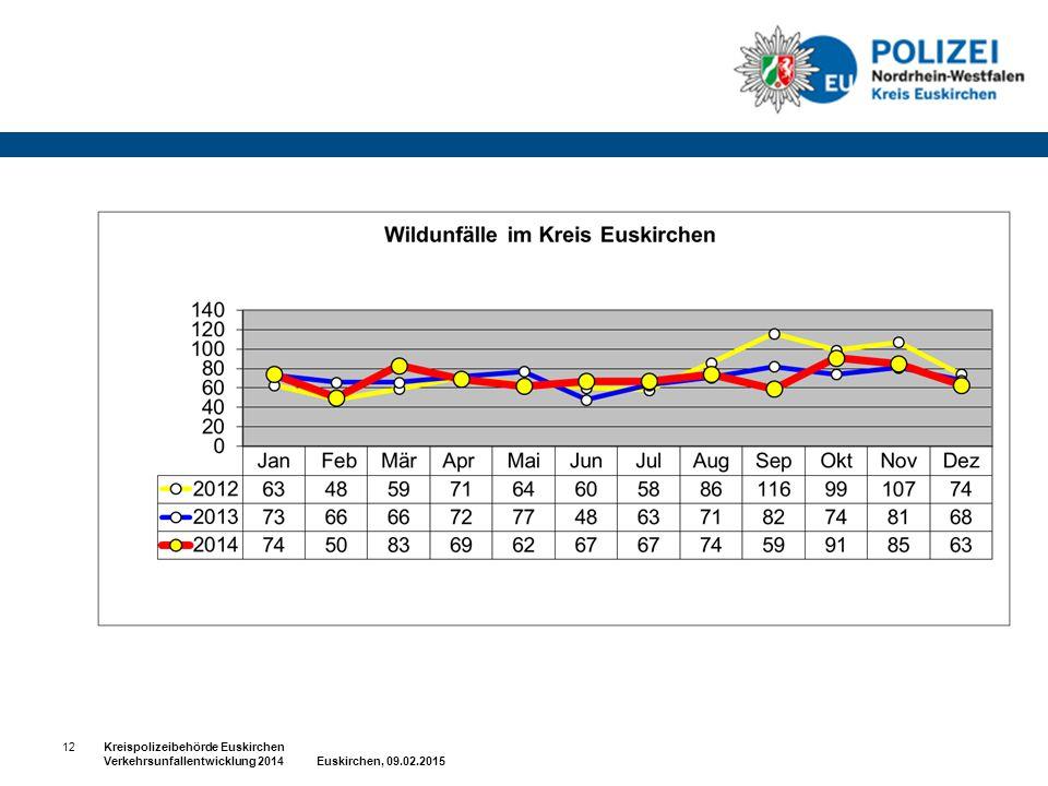 12 Kreispolizeibehörde Euskirchen Verkehrsunfallentwicklung 2014 Euskirchen, 09.02.2015