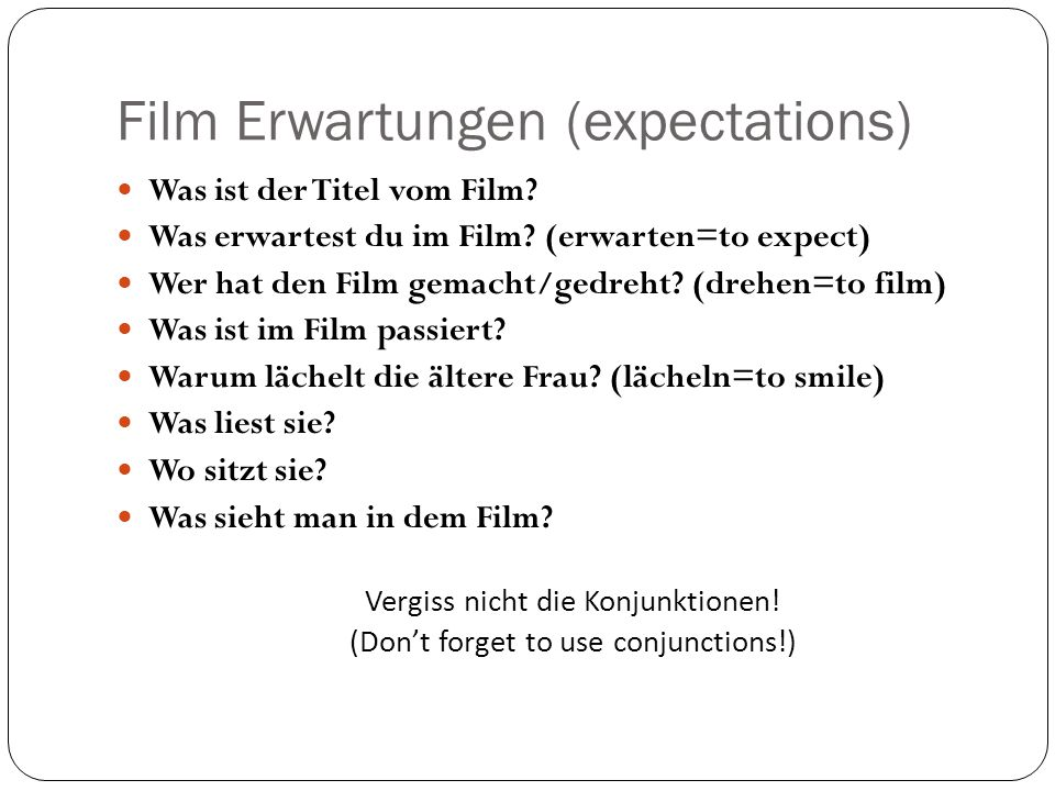 Film Erwartungen (expectations)