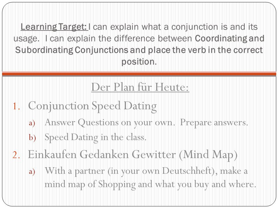Conjunction Speed Dating