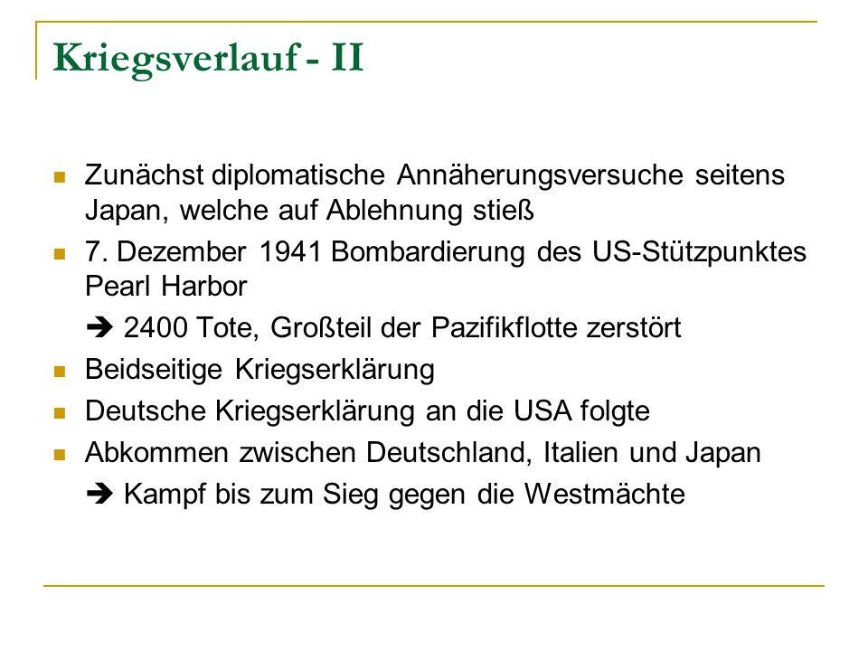 Kriegsverlauf - II Zunächst diplomatische Annäherungsversuche seitens Japan, welche auf Ablehnung stieß.