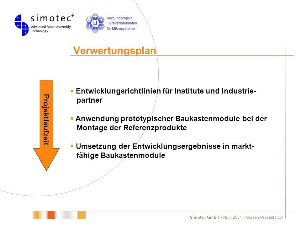 Verwertungsplan Projektlaufzeit.  Entwicklungsrichtlinien für Institute und Industrie- partner.