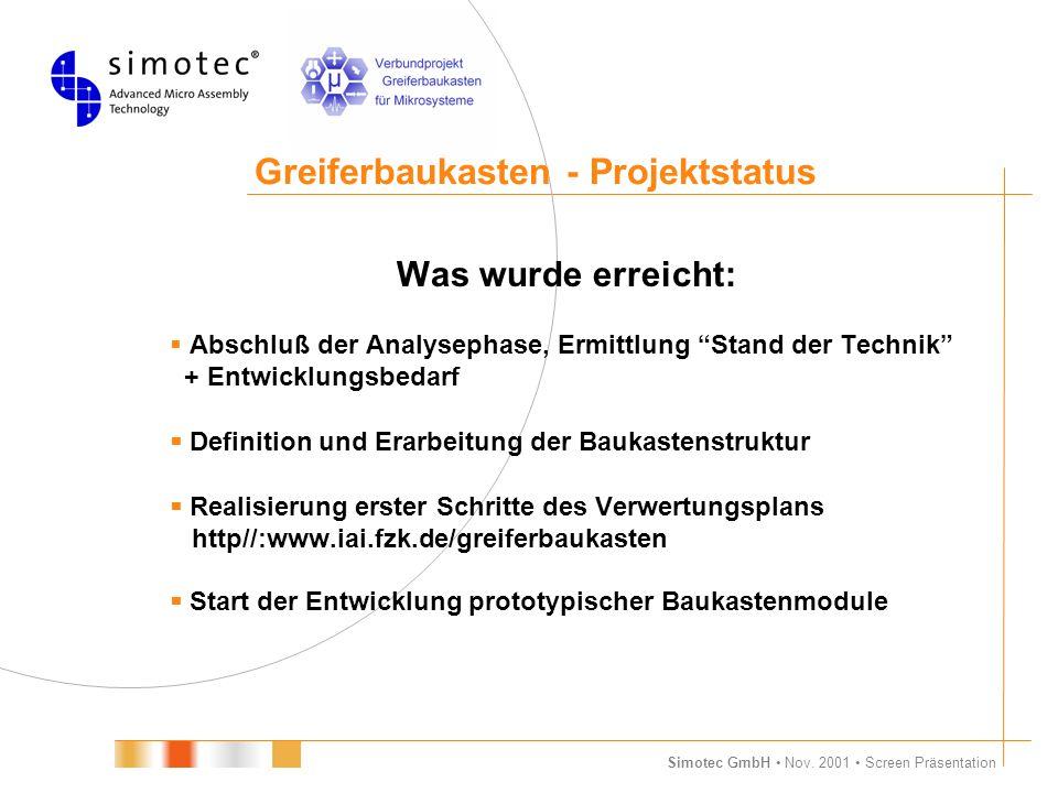 Greiferbaukasten - Projektstatus