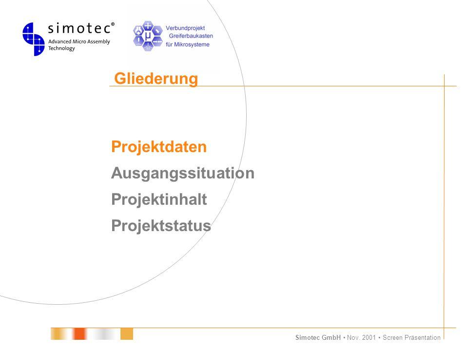 Gliederung Projektdaten Ausgangssituation Projektinhalt Projektstatus