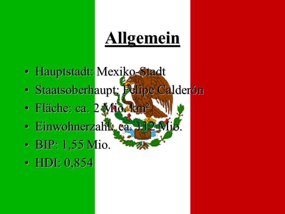 Allgemein Hauptstadt: Mexiko-Stadt Staatsoberhaupt: Felipe Calderón
