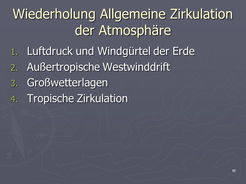 Wiederholung Allgemeine Zirkulation der Atmosphäre