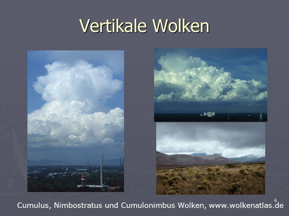 Vertikale Wolken Cumulus, Nimbostratus und Cumulonimbus Wolken, www.wolkenatlas.de