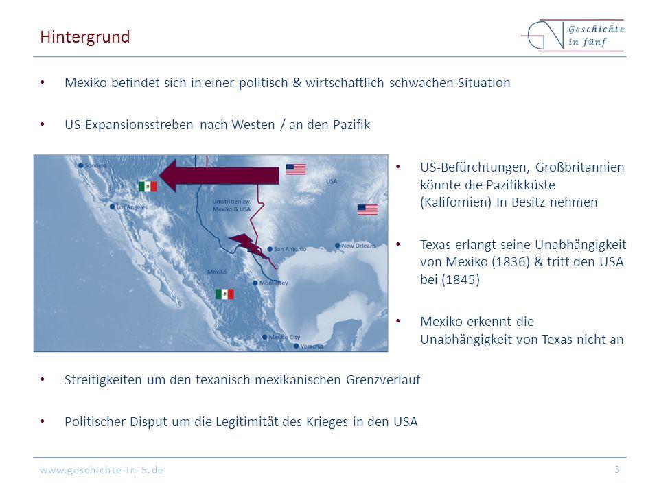 Hintergrund Mexiko befindet sich in einer politisch & wirtschaftlich schwachen Situation. US-Expansionsstreben nach Westen / an den Pazifik.