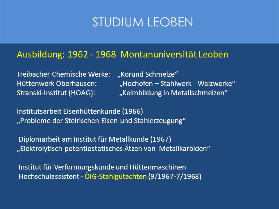 STUDIUM LEOBEN Ausbildung: 1962 - 1968 Montanuniversität Leoben