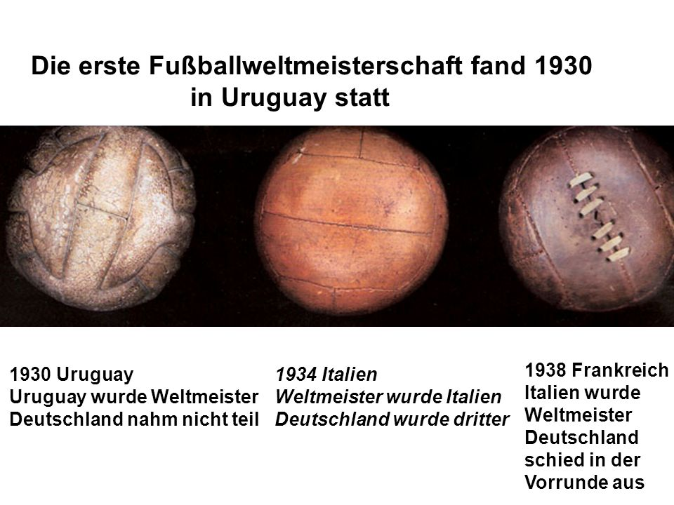 Die erste Fußballweltmeisterschaft fand 1930 in Uruguay statt