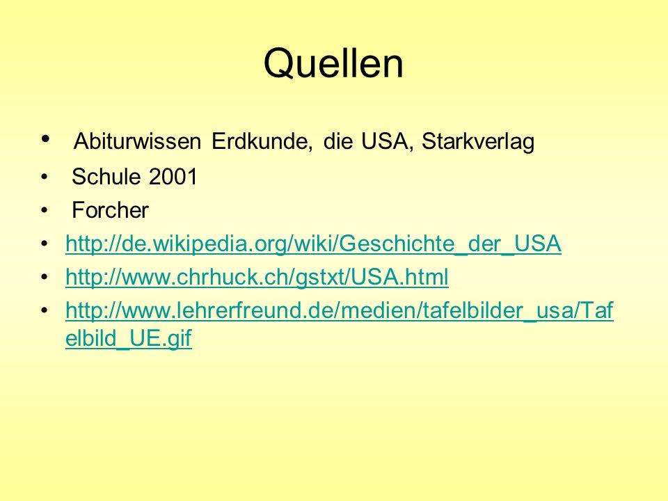 Quellen Abiturwissen Erdkunde, die USA, Starkverlag Schule 2001