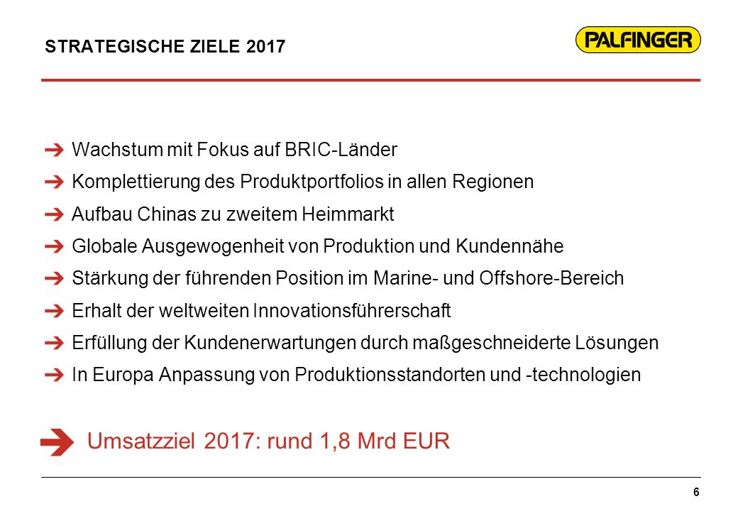  Umsatzziel 2017: rund 1,8 Mrd EUR Wachstum mit Fokus auf BRIC-Länder